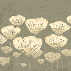 Stylized beige flowers on grunge background, vector illustration
