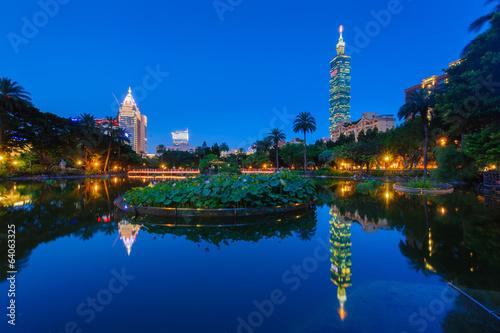 night scene of Taipei with Taipei 101 Poster