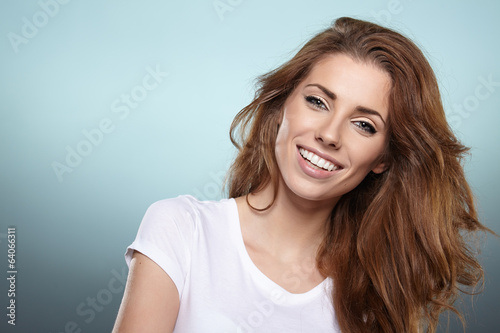 Photo of a fresh beautiful woman, studio shoot