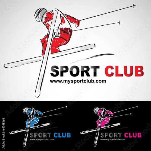 Fotografie, Obraz  ski skieur skieuse acrobatique club logo sport extreme