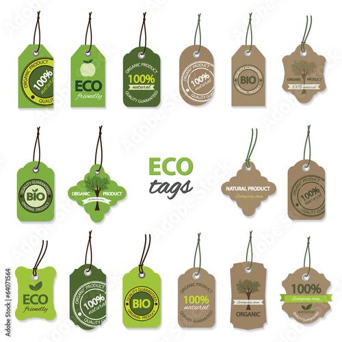 Fotografia  Eco organic label tags big set.