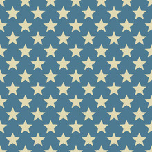 Vintage White And Blue Star Vector Pattern.