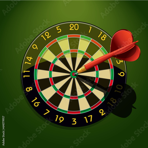 Dartboard with dart in the center Canvas Print