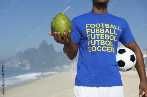 Fotografie, Obraz  Brazilian Soccer Football Player Drinking Coconut Rio
