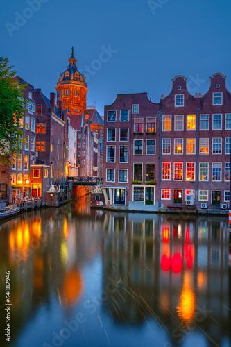 Poster Amsterdam Amsterdam at night