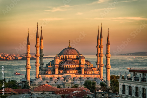 Printed kitchen splashbacks Turkey Blue mosque in Istanbul - sunset