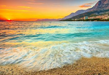 FototapetaAmazing sunset over the sea,Makarska,Croatia