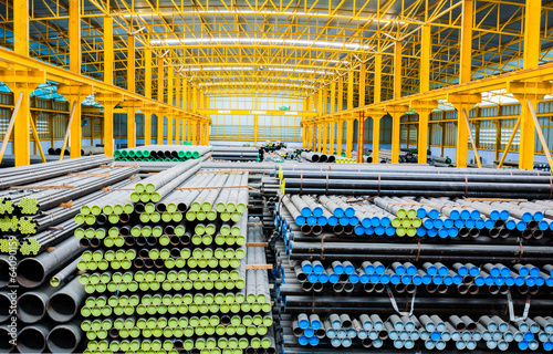 Steel pipes storage in warehouse for construction Fototapeta