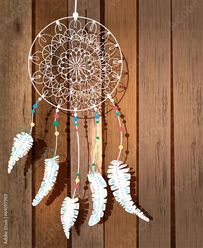 Naklejka premium Kolor łapacz snów Indian amerykańskich z ptasimi piórami i florą