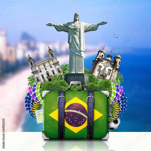 Fotografiet  Brazil, Brazil landmarks, travel and retro suitcase