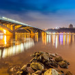 Kyiv Metro bridge at night