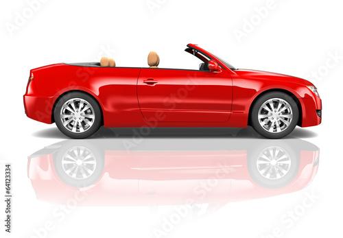 Red 3D Sedan Convertible Car - 64123334