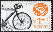 Stamp Dedicated To Export Of Bicycles From Mexico
