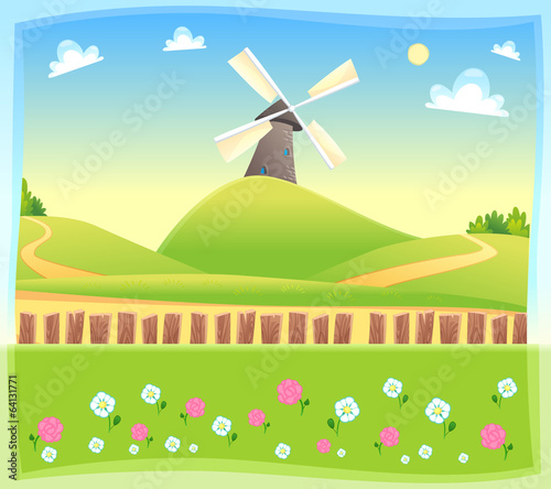 Papiers peints Piscine Funny landscape with windmill.