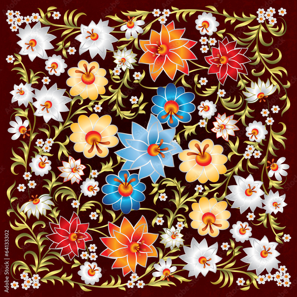 abstract grunge spring floral ornament