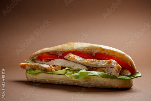 Staande foto Snack Grilled chicken sandwich