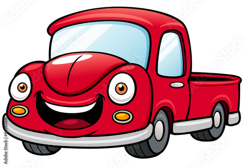 Staande foto Cartoon cars Vector illustration of Cartoon car pickup