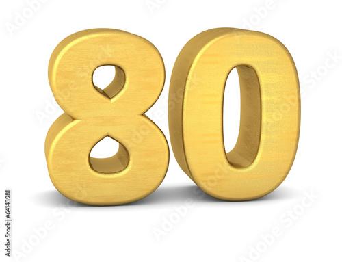 Fotografia  zahl cipher 80 gold vertikal