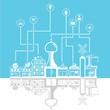 social network city skyline in blue background