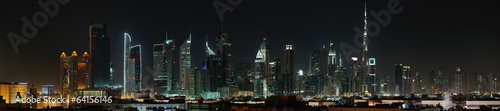 Photo  Dubai. World Trade center and Burj Khalifa at night