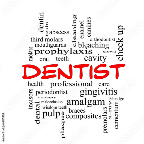 Fotografering  Dentist Word Cloud Concept in red caps