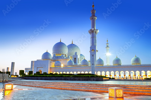 Keuken foto achterwand Abu Dhabi Grand Mosque in Abu Dhabi at night, United Arab Emirates