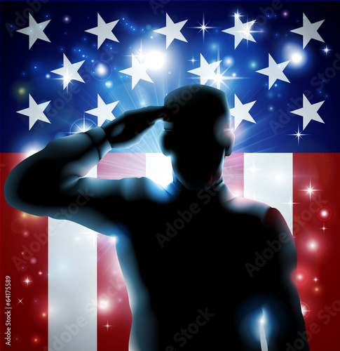 Canvas Prints Military Hero Soldier and Stars and Stripes