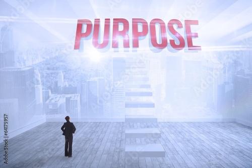 Photo  Purpose against city scene in a room