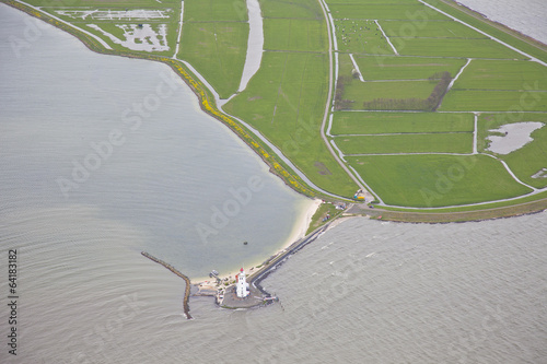 Canvas Prints Horses Famous Dutch lighthouse at Marken, The Netherlands from above