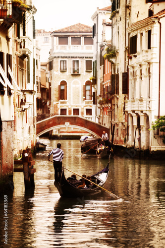 Foto op Plexiglas Venetie Gondola on canal in Venice