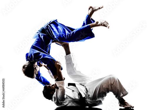 Garden Poster Martial arts judokas fighters fighting men silhouettes