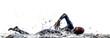 Leinwanddruck Bild - man triathlon iron man athlete swimmers swimming