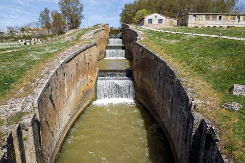 Poster Channel Canal castilla locks in Fromista