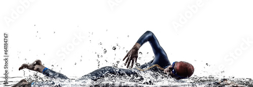 Photo man triathlon iron man athlete swimmers swimming
