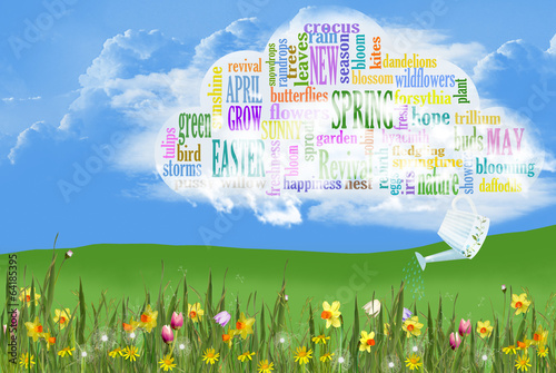 Fotografie, Obraz  Spring word cloud with flowers