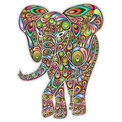 FototapetaElephant Psychedelic Pop Art Design on White