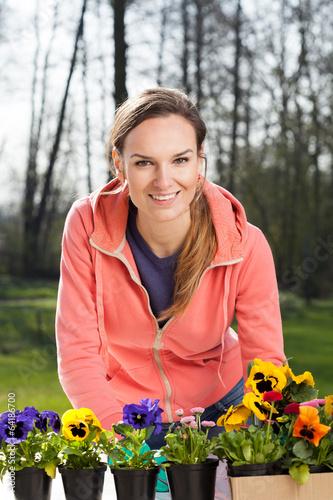 Papiers peints Pansies Gardener planting pansy flowers