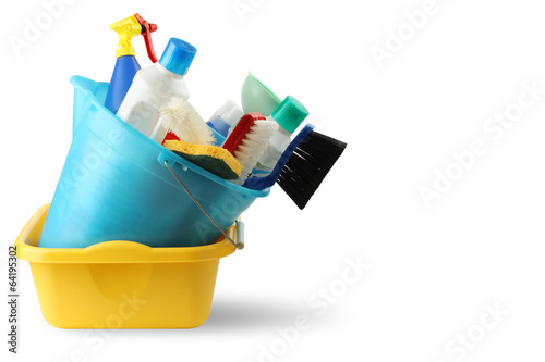 Fotografie, Obraz  Bacinella detersivi e secchio per pulizie