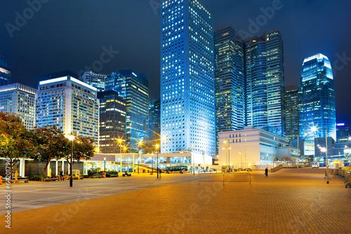 night scene of modern city Billede på lærred