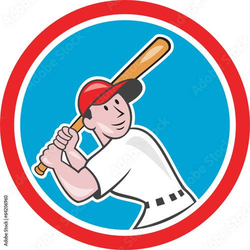 Canvas Prints Fairytale World Baseball Player Batting Looking Up Circle Cartoon