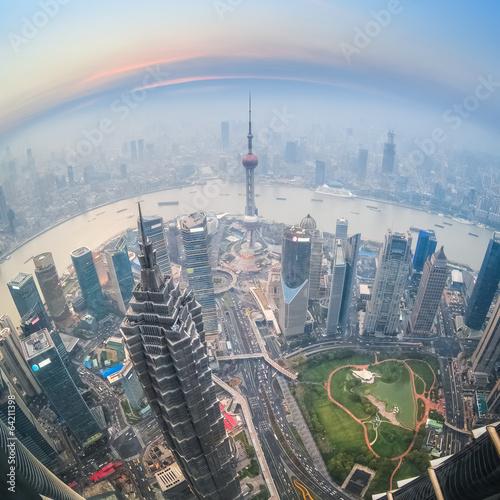 Fotografie, Obraz  fisheye view of shanghai at dusk