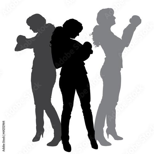 Deurstickers Dance School Vector silhouette of family.