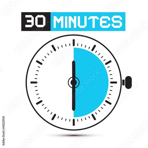 Fotografia  Thirty Minutes Stop Watch - Clock Vector Illustration