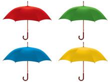 Umbrella Isolated. Color Set. Vector Illustration