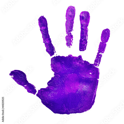 Fényképezés  violet handprint, depicting the idea of to stop violence against