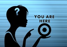 Stylish Woman Silhouette With You Are Here