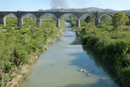 Fototapeta Railway Bridge On Simeto River, Sicily