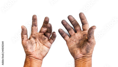 Fotografie, Obraz  man with dirty hands