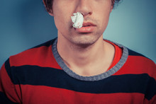 Man With Nose Bleed And Cold S...