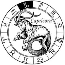 Capricorn Zodiac Sign Black White